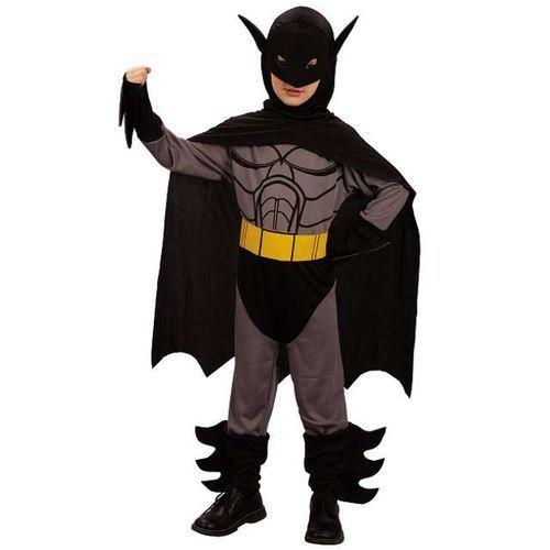 """_xx_Strój """"Czarny wojownik"""" (kostium, peleryna z kapturem, maska oraz pasek) rozm. 130/140 (5905548949284)"""