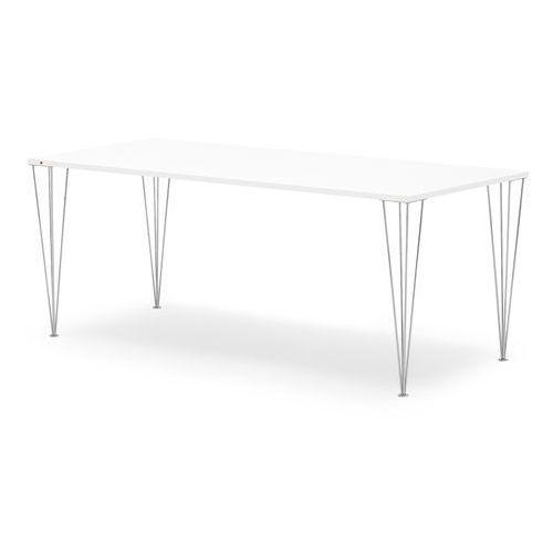 Stół Zadie, 2000x800 mm, laminat wysokociśnieniowy, biały, chrom