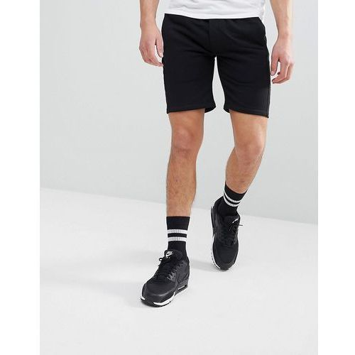 Religion Jersey Shorts In Black With Faux Suede Panel - Black