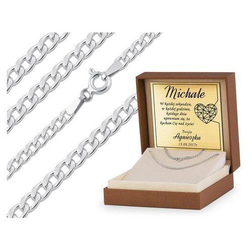 Murrano Srebrny łańcuszek 925 pancerka 60 cm grawer yl11