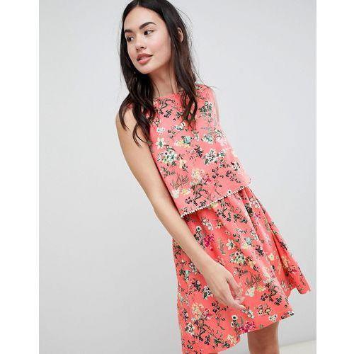 Brave Soul Celeste Double Layer Floral Dress with Pom Pom Trim - Pink