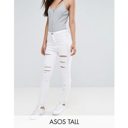 ridley high waist skinny jeans in optic white with shredded rips - white marki Asos tall