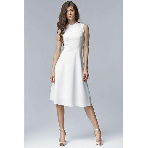 Nife Ecru elegancka rozkloszowana midi sukienka bez rękawów