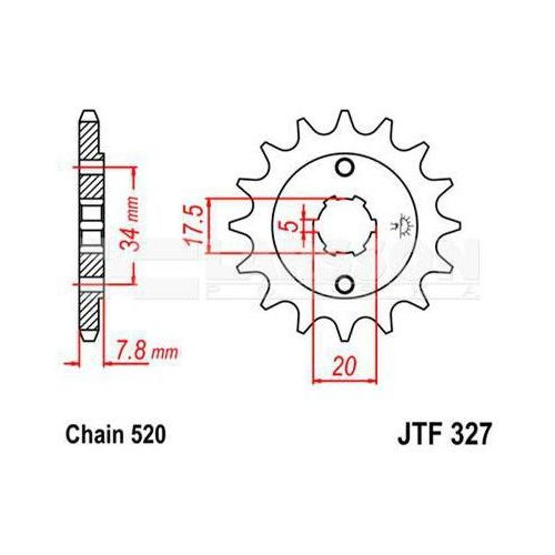 Jt sprockets Zębatka przednia jt f327-14, 14z, rozmiar 520 2200489 kymco mxu 50, honda vt 125