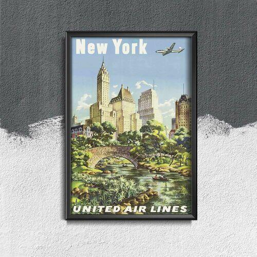 Plakat retro do salonu plakat retro do salonu plakat linii lotniczych new york united air marki Vintageposteria.pl