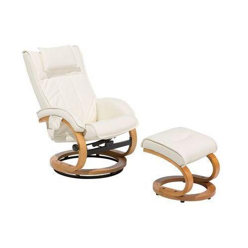Fotel beżowy ekoskóra funkcja masażu z podnóżkiem majestic marki Beliani