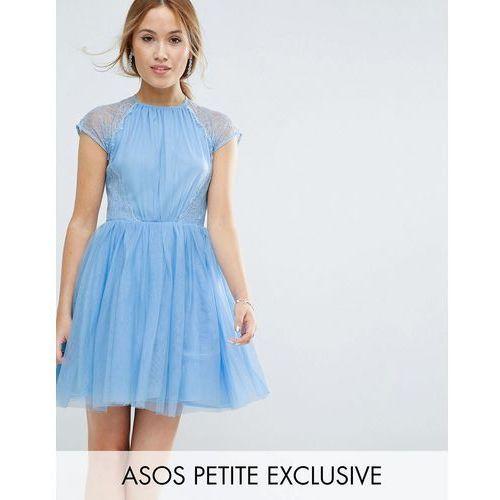 premium lace tulle mini prom dress - blue, Asos petite