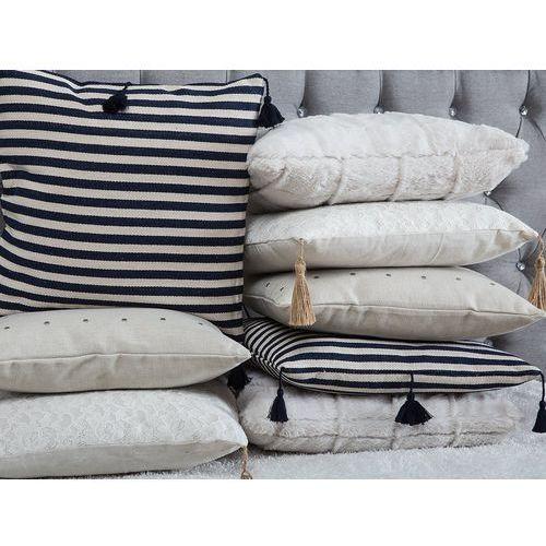 Poduszka dekoracyjna w paski z frędzlami granatowa/biała 45 x 45 cm (4260624112503)