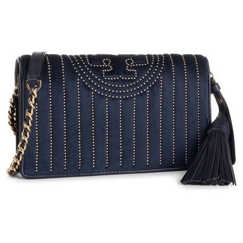 Torebka TORY BURCH - Fleming Mini Stud Vlevet Wallet Cross-Body 58464 Royal Navy 403