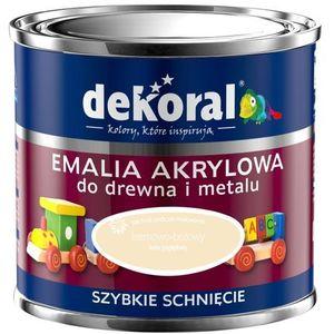 Farba akrylux kolor kremowo - beżowy emalia akrylowa do drewna i metalu jedwabisty połysk 0,5l firmy marki Dekoral