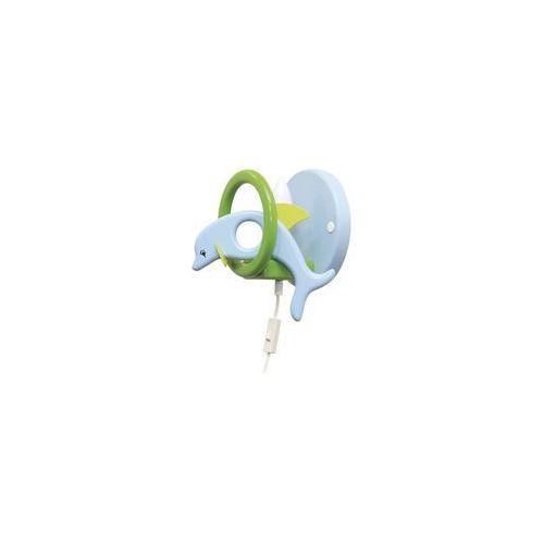 Prezent Kinkiet dziecięcy delfin zielony/ jasny niebieski (5908218910164)
