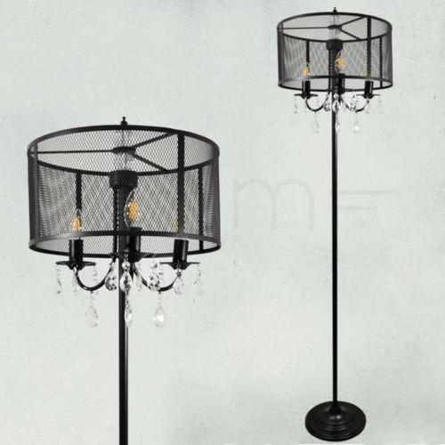 Polux Stojąca lampa podłogowa bresso 310569 okrągła oprawa salonowa z kryształkami siatka loft czarna