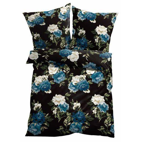Pościel w kwiatowy deseń czarny marki Bonprix