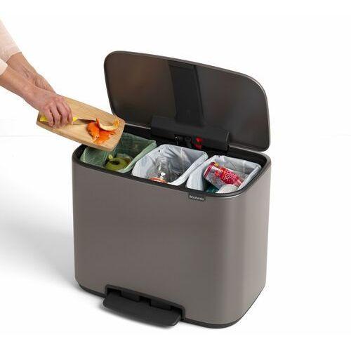 Brabantia Kosz na śmieci bo pedałowy 3 x 11 l platynowy