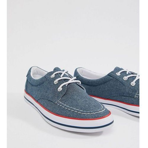 ASOS DESIGN Wide Fit boat shoes in blue chambray with red and navy detail - Blue