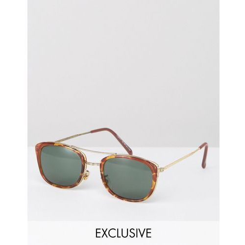 Reclaimed Vintage Inspired Square Aviator Sunglasses in Tort Exclusive To ASOS - Brown