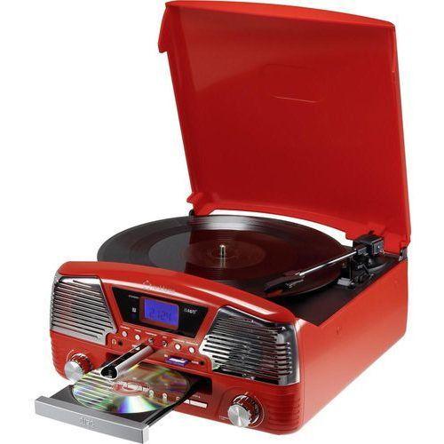 Renkforce Gramofon  mt-35, audio/mp3 cd, karty pamięci sd, nagrywanie na usb, kartę sd, czerwony (4016138984057)