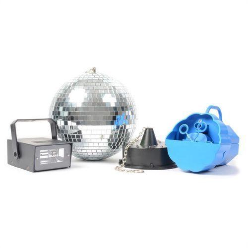 disco set iv zestaw efektów świetlnych kula dyskotekowa maszynka do robienia baniek mydlanych zasilanie na baterie wyprodukowany przez Beamz