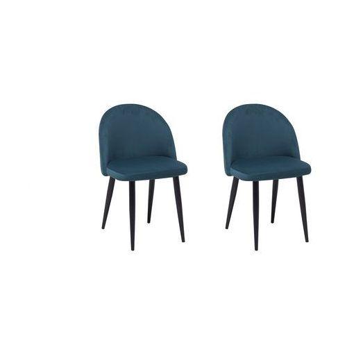 Beliani Zestaw do jadalni 2 krzesła welwet ciemnoniebieskie visalia