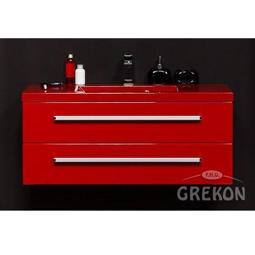 Czerwona szafka wisząca z umywalką 100/39/2CZ seria Fokus CZ, kolor czerwony