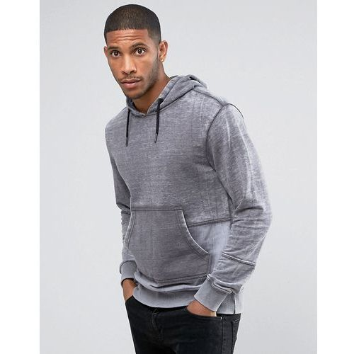 Another Influence Burn Out Pull Over Panelled Hoodie - Grey, kolor szary