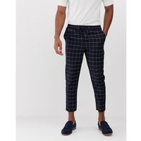 New look smart trousers in navy grid check - navy