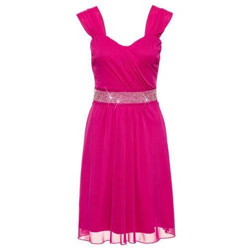 Sukienka koktajlowa z siatkowego materiału i dżerseju bonprix fuksja, koktajlowa