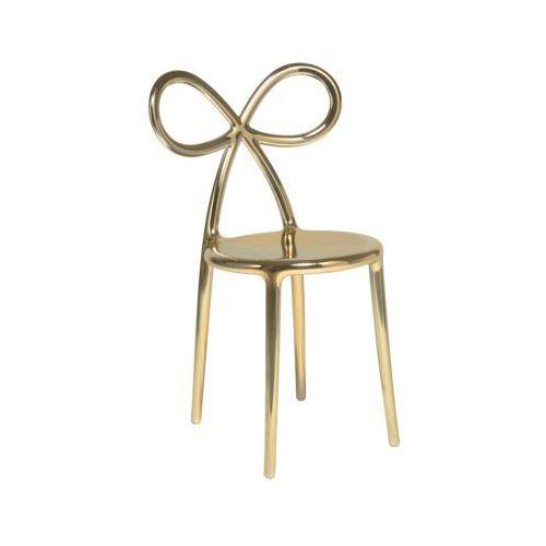 QeeBoo Krzesło Ribbon metalowe złote 80002GO-S