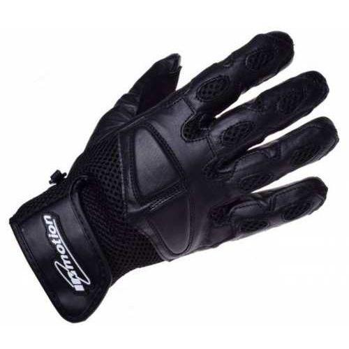 Rękawice motocyklowe czarne skórzane siatka marki Inmotion