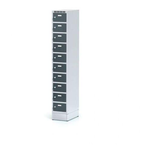 Alfa 3 Metalowa szafka ubraniowa 10-drzwiowa na cokole, drzwi antracytowe, zamek obrotowy