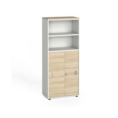 Szafa biurowa, przesuwne drzwi na 3 półki, 1781 x 800 x 420 mm, biały/dąb naturalny