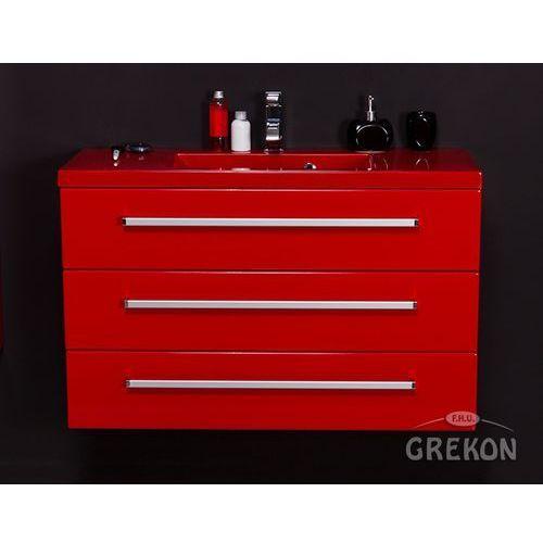 Czerwona szafka wisząca z umywalką 100/39/3CZ seria Fokus CZ, kolor czerwony