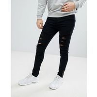 boohooMAN Skinny Biker Jeans In Distressed Black Wash - Black, jeansy