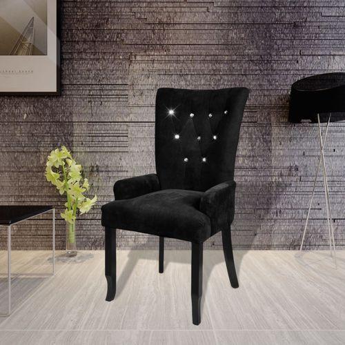 vidaXL Aksamitny fotel z drewnianą ramą, czarny