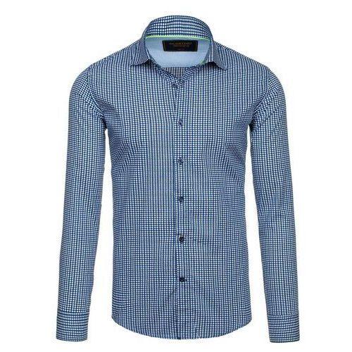 Granatowa koszula męska elegancka we wzory z długim rękawem denley 1506 marki Glo-story