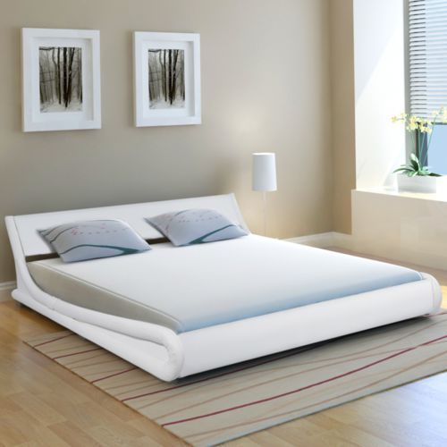 Vidaxl  łóżko ze sztucznej skóry z materacem memory 180 x200 cm, zaokrąglone białe (8718476000883)