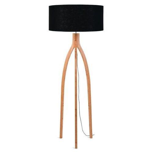 lampa podłogowa annapurna bambus 3-nożna 128cm/abażur 60x30cm, lniany czarny annapurna/f/6030/b marki Good&mojo