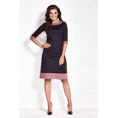 Czarna Elegancka Sukienka z Kontrastowymi Wypustkami, WA77bl