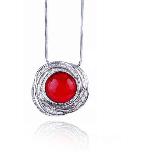 Długi naszyjnik z czerwonym oczkiem - czerwony