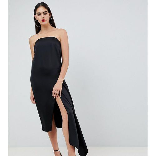 ASOS DESIGN Tall bandeau satin midi dress - Black