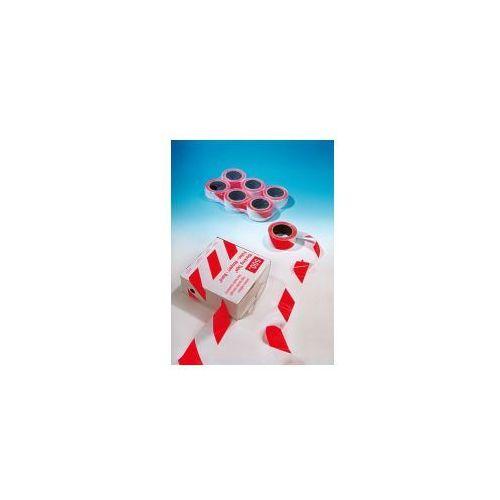 Grupa morado Taśma ostrzegawcza biało czerwona - szerokość 80 mm, długość 100 m