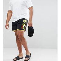 Fila plus black line runner swim shorts with logo in black - black