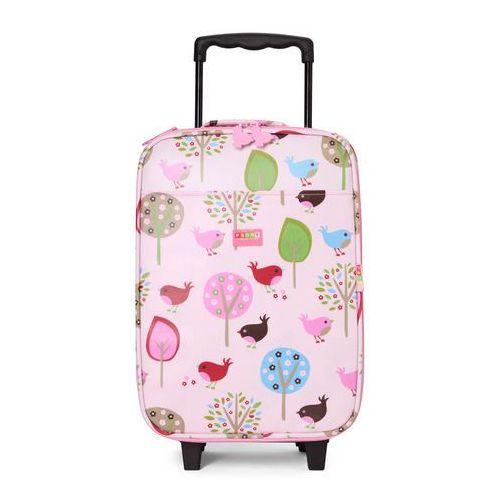 Penny Scallan Design, walizka na kółkach i nóżkach, miętowo-różowa w ananasy, kup u jednego z partnerów