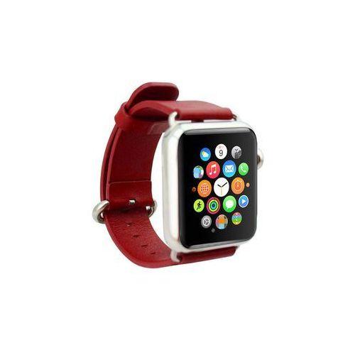 Pasek skórzany klasyczny Apple Watch 42mm - Czerwony, kolor czerwony