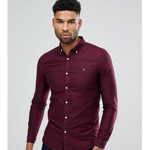 tall skinny fit button down oxford shirt in burgundy - red marki Farah