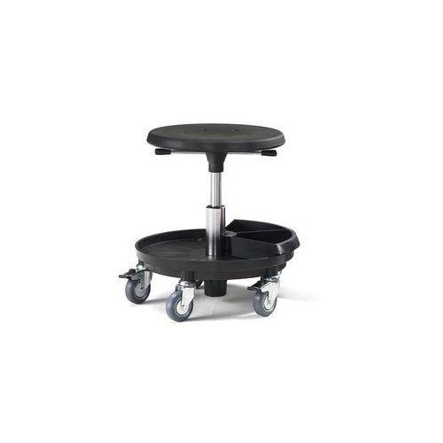Stołek warsztatowy midi, 370-500 mm, czarny poliuretan marki Aj produkty
