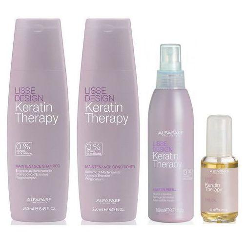 zestaw wygładzający alfaparf keratin therapy maintence: ld maintence shampoo szampon 250ml + ld maintence conditioner odżywka 250ml + ld keratin refill mleczko 100 ml + ld the oil olejek 50 ml marki Alfaparf
