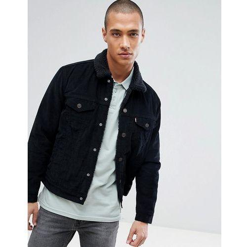 Levis Levi's type 3 sherpa trucker jacket black cord - black