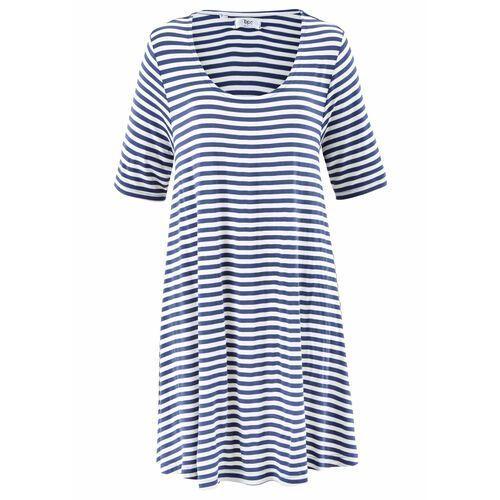 Tunika shirtowa, krótki rękaw niebieski indygo - kremowy w paski, Bonprix, 36-58