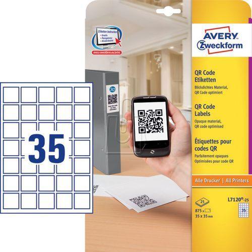 Etykiety do kodów QR kryjące A4 35 x 35mm 25 arkuszy Avery Zweckform L7120-25 (4004182052785)